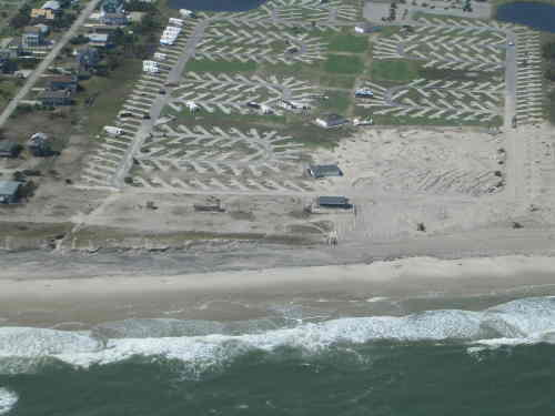 The Campground At Rodanthe Waves Nc Several Trailers Which Were Left In Park Rolled Over And Destroyed